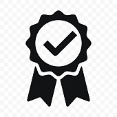 istock Quality icon, certified check mark ribbon label. Vector premium product certified or best choice recommended award and warranty approved certificate stamp 1135099924