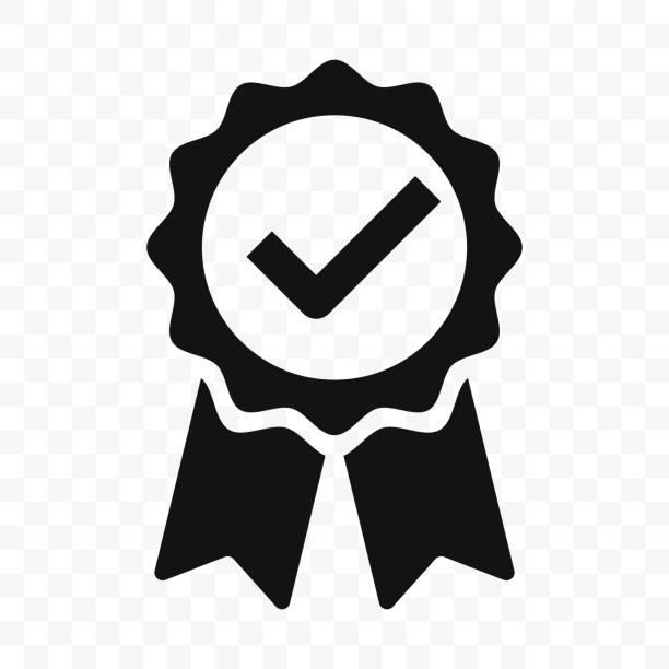 ikona jakości, certyfikowana etykieta wstążki znacznika wyboru. vector premium produkt certyfikowany lub najlepszy wybór zalecanej nagrody i gwarancji zatwierdzony znaczek certyfikatu - obsługa stock illustrations