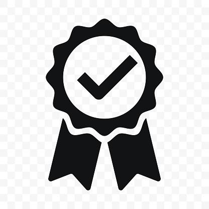 Quality Icon Certified Check Mark Ribbon Label Vector Premium Product Certified Or Best Choice Recommended Award And Warranty Approved Certificate Stamp - Stockowe grafiki wektorowe i więcej obrazów Aprobować