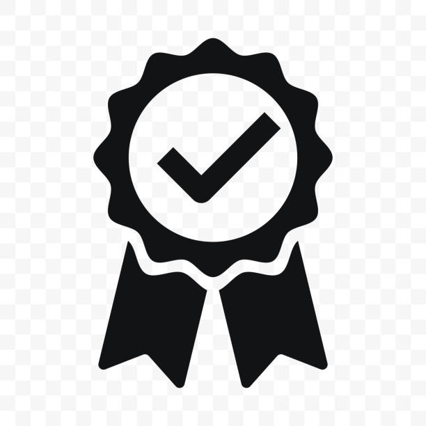 quality icon, certified check mark ribbon label. vector premium product certified or best choice recommended award and warranty approved certificate stamp - insurance stock illustrations