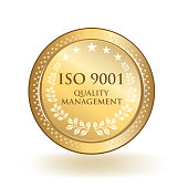 ISO 9001 quality management standard gold certified badge isolated.