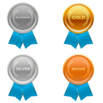 Quality metals, platinum, gold, silver and bronze. With ribbons at the bottom