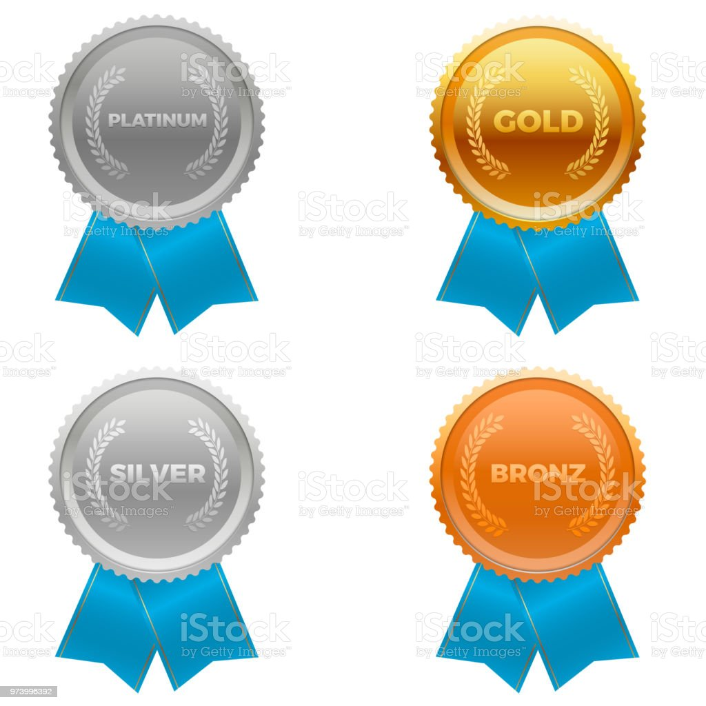 Quality metals, platinum, gold, silver and bronze. With ribbons at the bottom vector art illustration