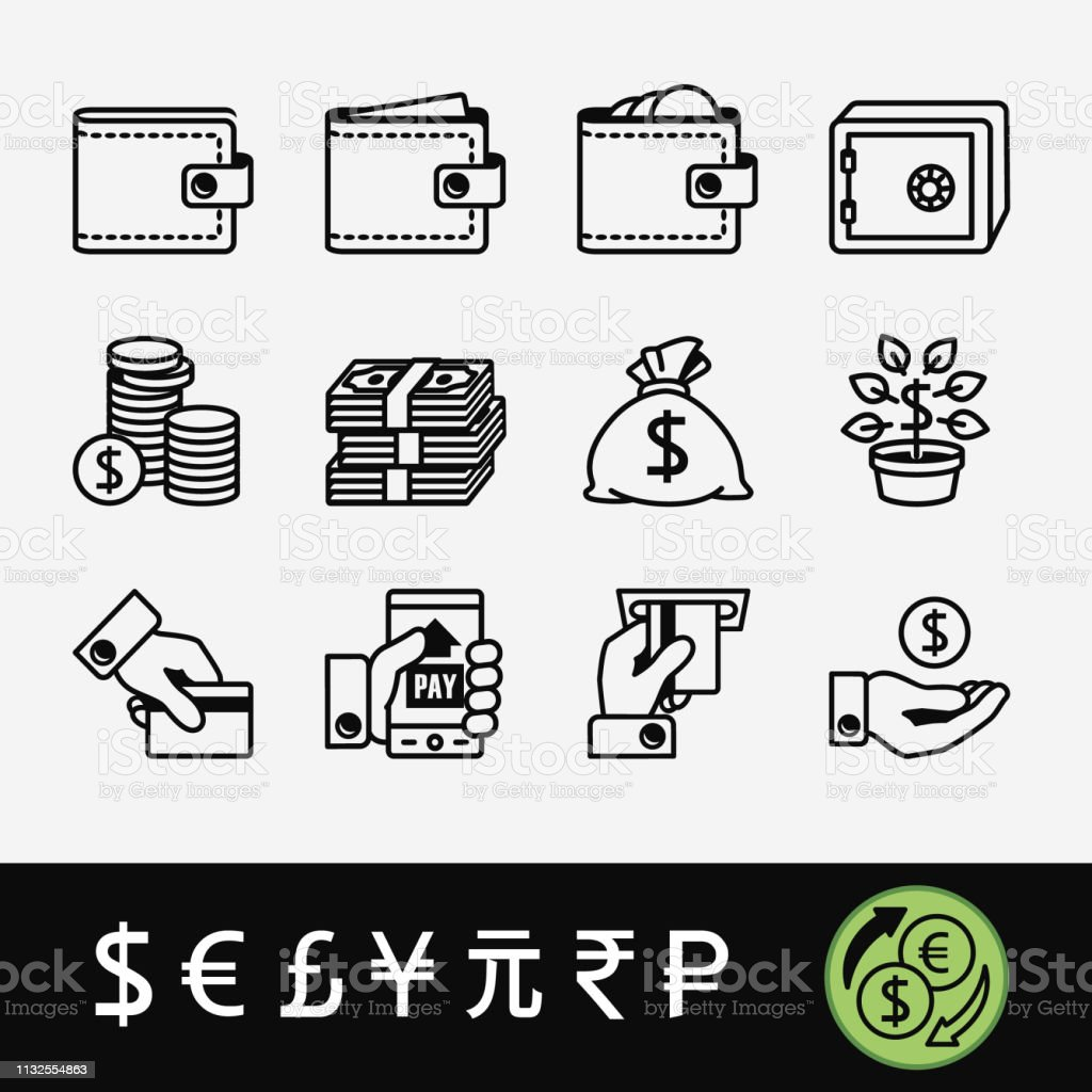 A quality set of icons related to money and currency symbols.