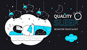 Quality sleep - flat design style web banner with line elements on black background. Young woman lying in her bed at home at night, dreaming, counting sheep. Images of the moon, stars, alarm clock