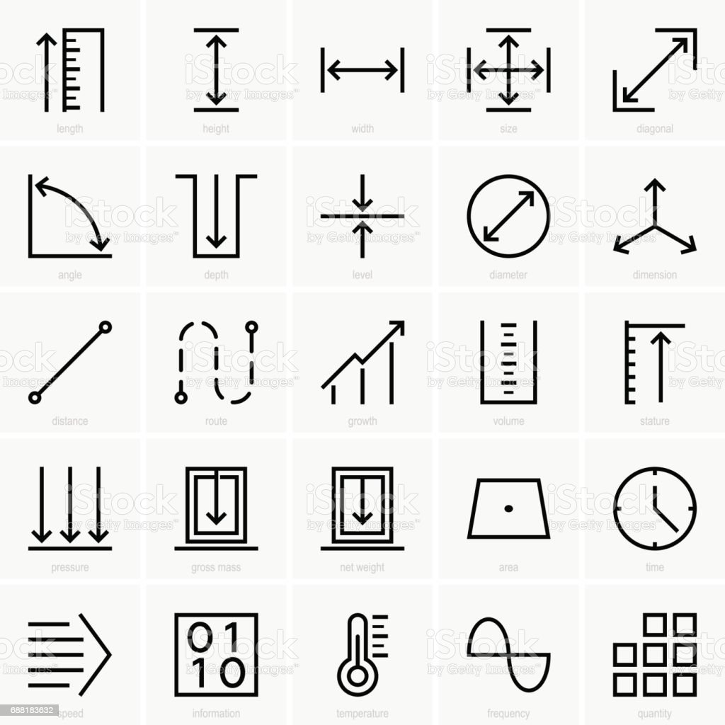 Quantities icons vector art illustration