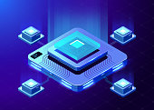 The microprocessor. Isometric illustration.