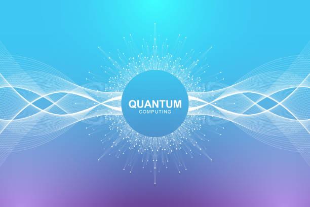 Quanten-Computer-Technologie-Konzept. Tiefe lernen künstliche Intelligenz. Big Data-Algorithmen-Visualisierung für Wirtschaft, Wissenschaft, Technologie. Wellen fließen. Vektor-illustration – Vektorgrafik