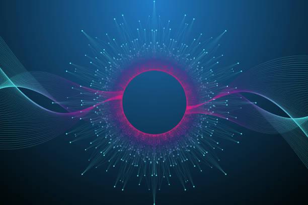 Quantencomputer-Technologie-Konzept. Sphäre Explosion Hintergrund. Tiefer Lernkünstlicher Intelligenz. Big Data-Algorithmen Visualisierung. Wellen fließen. Quantenexplosion, Vektorillustration. – Vektorgrafik
