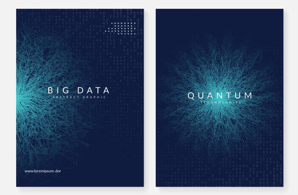 quantum computing hintergrund. technologie für big data, visualiza - big data stock-grafiken, -clipart, -cartoons und -symbole