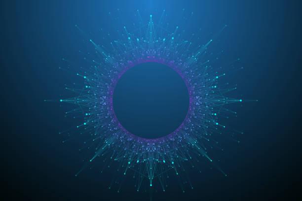 Quantencomputer-Technologiekonzept. Deep Learning künstliche Intelligenz. Big-Data-Algorithmen Visualisierung für Business, Wissenschaft, Technologie. Wellen fließen, Punkte, Linien. Quantenvektor-Illustration – Vektorgrafik