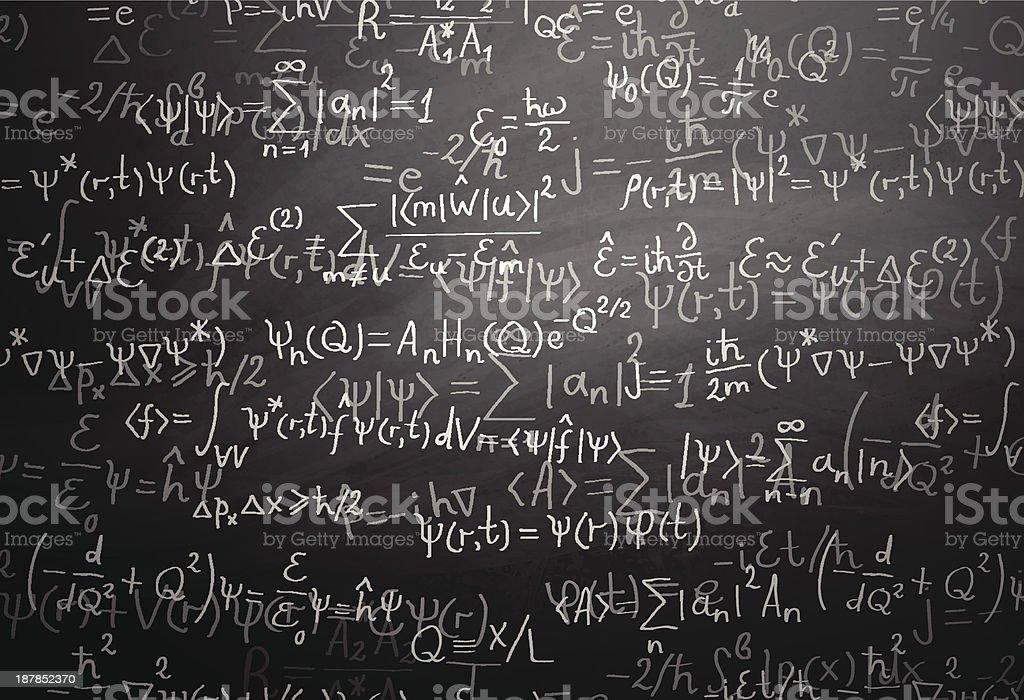 Física Quântica fórmulas mais de quadro-negro - ilustração de arte em vetor