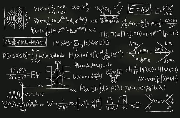 quantum physics on a blackboard - algorithm stock illustrations