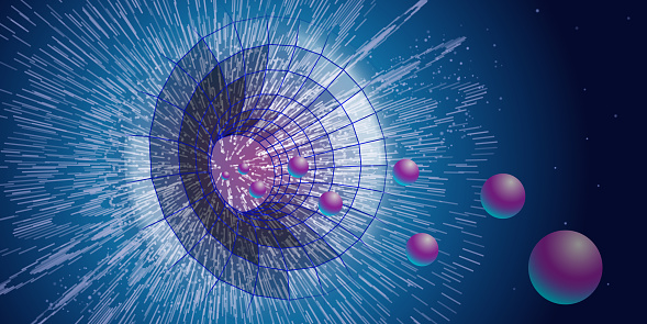 Quantum technology concept. Deep learning artificial intelligence. Spatial temporal funnel. Quantum explosion. Vector illustration.