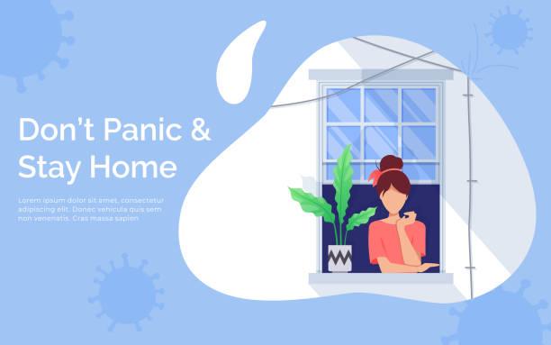 ilustraciones, imágenes clip art, dibujos animados e iconos de stock de concepto de cuarentena y autoaislamiento. una chica mirando por la ventana. permanecer en casa con autocuarentena. proteger de los virus - stay home