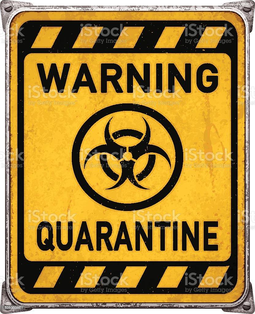 Quarantine Area Metal Placard With Biohazard Symbolvector Stock