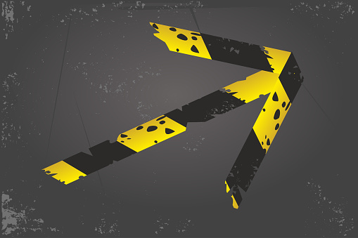 Quarantine banner. Barricade tape arrow. Direction and navigation sign. Duct tape on a floor. Vector design.