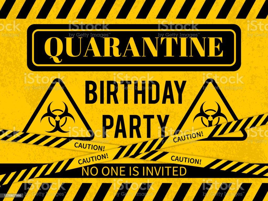 12 Quarantänegeburtstagspartyzeichen Mit Biohazardsymbol Social Distancing  Geburtstag Konzept Coronavirus Covid30 Pandemie Vektorvorlage Für Banner ...