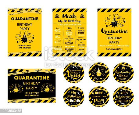 Quarantine Birthday set Home party invitation. Yellow black Birthday cards. Funny wishes for coronavirus. Cupcake toppers. Birth online party. Birth template. Virtual party. Funny vector illustration.
