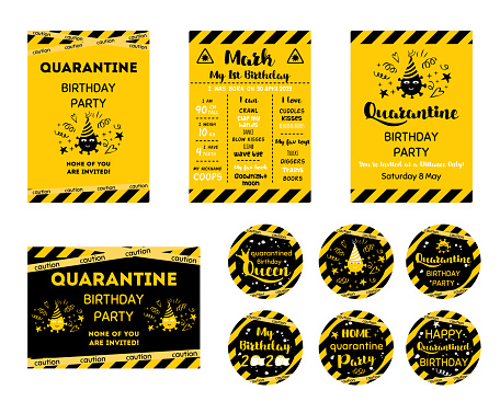 Quarantine Birthday set Home party invitation Yellow black Birthday cards upcake toppers Birth online party banner Vector