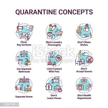 istock Quarantine concept icons set. Clean surfaces. Limit contact with pets. Do not accept guests. Self-isolation idea thin line RGB color illustrations. Vector isolated outline drawings. Editable stroke 1253978514