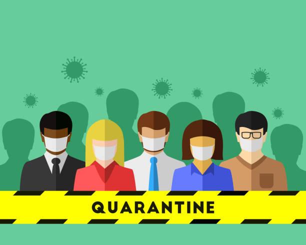 ilustrações de stock, clip art, desenhos animados e ícones de quarantine concept with diverse people - tape face