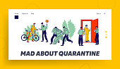 Quarantine Control Landing Page Template. Characters Violate Self Isolation, Policemen Arrest Person in Costume of Tree, Bicyclist in Park and Checking Quarantined People. Linear Vector Illustration