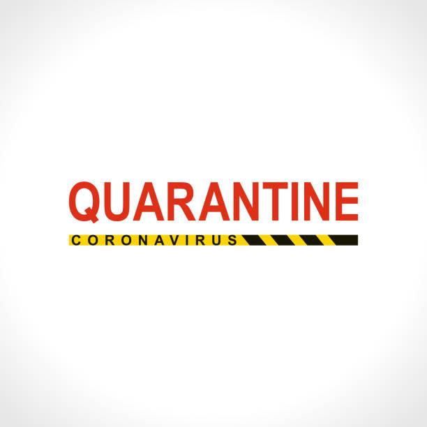 stockillustraties, clipart, cartoons en iconen met quarantaine. coronavirus. grote rode waarschuwing inscriptie biologisch gevaar risico logo symbool. - avondklok