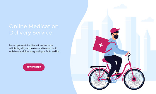 COVID-19. Quarantine. Coronavirus epidemic. Delivery man in a protective mask delivers medicine by bicycle. Free medicament shipping. Web page template