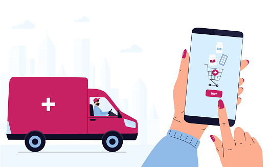 COVID-19. Quarantine. Coronavirus epidemic. Delivery man in a protective mask delivers parcel by car. Hand is holding smartphone to buy pills. Order Medicines Online. Medicament shipping.