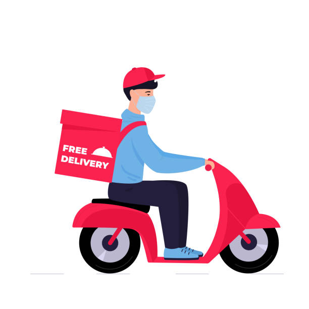 covid-19. quarantine. coronavirus epidemic. free delivery. man in a protective mask carries food on a motorbike - food delivery stock illustrations
