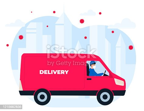 istock COVID-19. Quarantine in the city. Coronavirus epidemic. A courier in a protective medical mask delivers goods on a minivan 1215662835