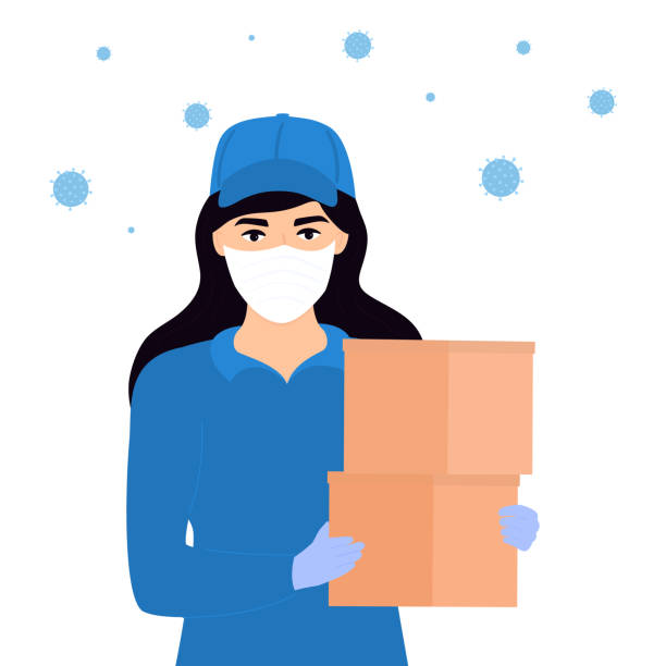 covid-19. quarantine in the city. coronavirus epidemic. courier girl in a protective medical mask holds a parcel in her hands. free food delivery. stay home - essential workers stock illustrations