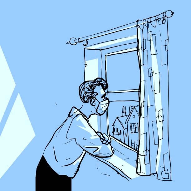 stockillustraties, clipart, cartoons en iconen met quarantaine man - solitair