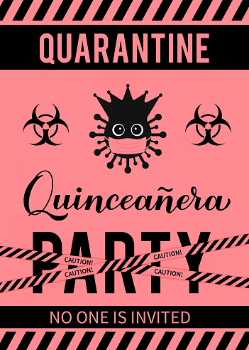 Quarantine Quinceanera party banner. Calligraphy lettering with cute virus wearing mask. Spanish or Latin American girl 15th birthday. Vector template for invitation, poster, greeting card, etc