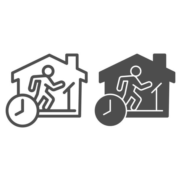 Quarantine sports at home line and solid icon. Person jogging at treadmill with clock outline style pictogram on white background. Social isolation for mobile concept and web design. Vector graphics. Quarantine sports at home line and solid icon. Person jogging at treadmill with clock outline style pictogram on white background. Social isolation for mobile concept and web design. Vector graphics active lifestyle stock illustrations