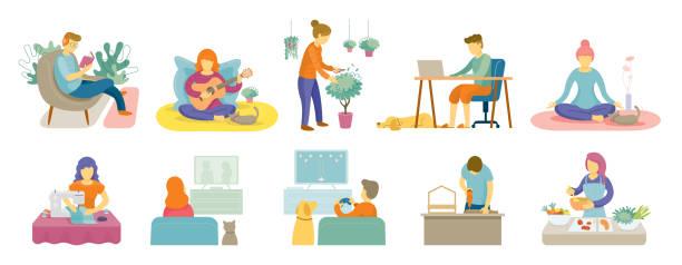 檢疫,留在家裡活動 - 休閒活動 主題 幅插畫檔、美工圖案、卡通及圖標