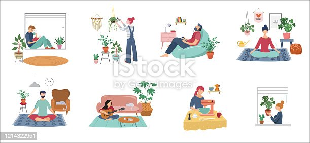Quarantine, stay at home concept series - young women and men sitting at their home, room or apartment, practicing yoga, enjoying meditation, relaxing on sofa, reading books, baking and listening to the music. Flat cartoon vector illustration