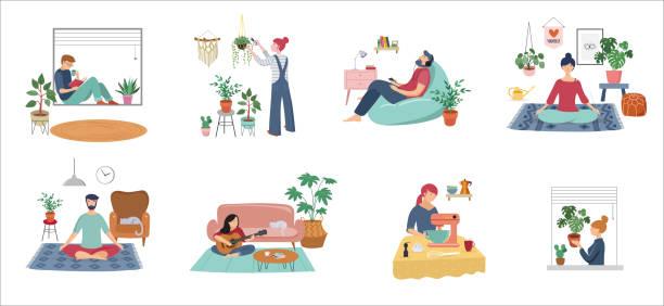 檢疫,留在家裡的概念系列 - 人們坐在家裡,房間或公寓,練習瑜伽,享受冥想,在沙發放鬆,看書,烘焙和聽音樂。 - 插圖 幅插畫檔、美工圖案、卡通及圖標