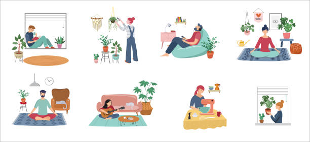 quarantine, stay at home concept series - people sitting at their home, room or apartment, practicing yoga, enjoying meditation, relaxing on sofa, reading books, baking and listening to the music. - working from home stock illustrations
