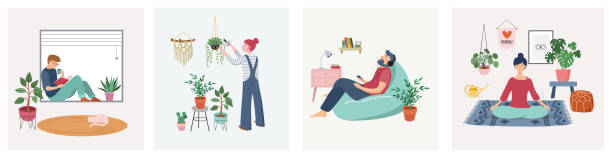 illustrazioni stock, clip art, cartoni animati e icone di tendenza di quarantine, stay at home concept series - people sitting at their home, room or apartment, practicing yoga, enjoying meditation, relaxing on sofa, reading books, baking and listening to the music. - prendersi cura del corpo