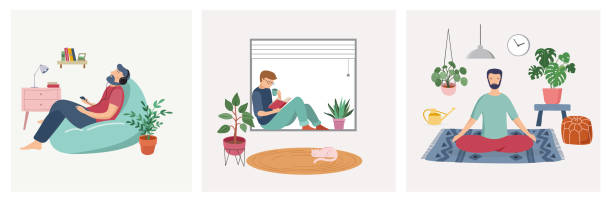 quarantine, stay at home concept series - people sitting at their home, room or apartment, practicing yoga, enjoying meditation, relaxing on sofa, reading books, baking and listening to the music. - meditating stock illustrations