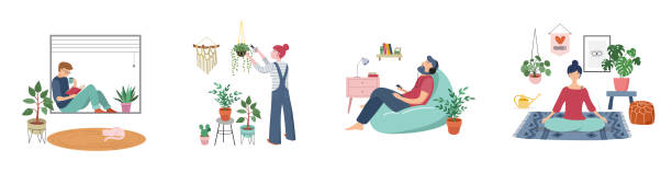 Quarantine, stay at home concept series - people sitting at their home, room or apartment, practicing yoga, enjoying meditation, relaxing on sofa, reading books, baking and listening to the music. vector art illustration