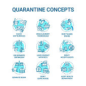 istock Quarantine turquoise concept icons set. Clean surfaces. Do not accept guests. Self-isolation idea thin line RGB color illustrations. Vector isolated outline drawings. Editable stroke 1254626170