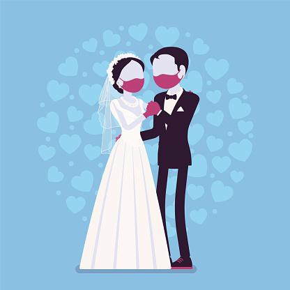 Quarantine wedding ceremony, groom, bride in protective mask, gloves