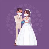 istock Quarantine wedding ceremony, groom, bride wearing protective mask, gloves 1265599782