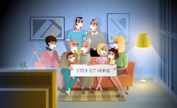 Quarantined Family Stay at Home During Pandemic Quarantined Family Stay at Home During Pandemic. Three Generations Family Talking and Spending Together while Sitting on Coach in Living Room. Large Happy Family Gathered Together at Home in Evening family watching tv stock illustrations