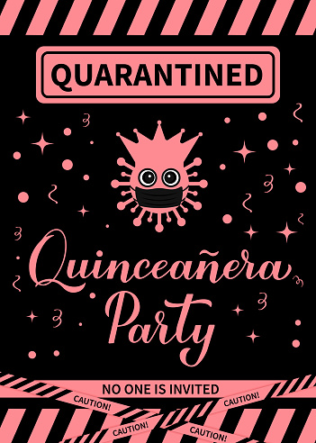 Quarantinned Quinceanera party banner. Calligraphy lettering with cute virus wearing mask. Spanish or Latin American girl 15th birthday. Vector template for invitation, greeting card, poster