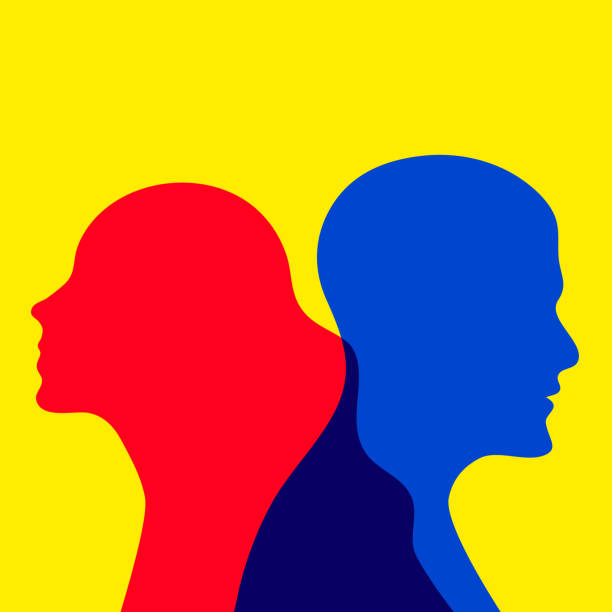 quarrel between man and woman Divorcing couple, quarrel between man and woman, boy and girl are going in different directions. Flat abstract vector concept illustration arguing stock illustrations