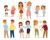 Quarrel collection with arguing people in different situations in flat style and conflict stress couples character vector illustration
